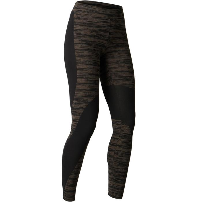 Leggings FIT+ 500 slim Gimnasia Stretching mujer negro/caqui AOP