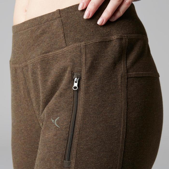 Pantalon 920 Gym & Pilates femme bas zippé gris chiné moyen - 1503121