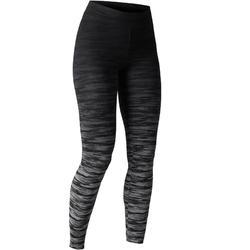Leggings FIT+ 500 slim Gimnasia Stretching mujer negro/gris AOP