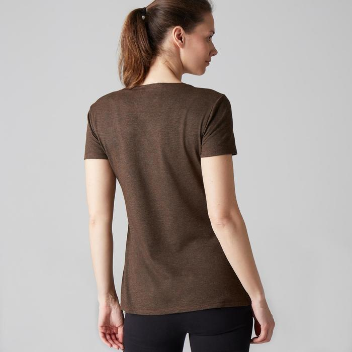 T-shirt 500 regular Gym Stretching femme kaki chiné