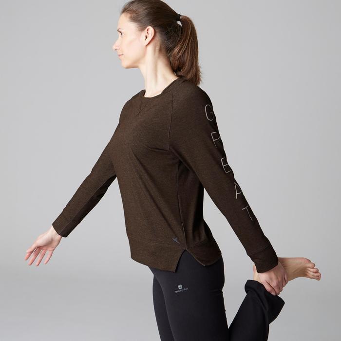 Langarmshirt 500 Gym Stretching Damen khakimeliert mit Print