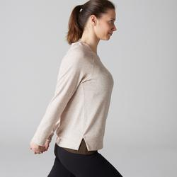 Langarmshirt 500 Gym & Pilates Damen beige mit Print