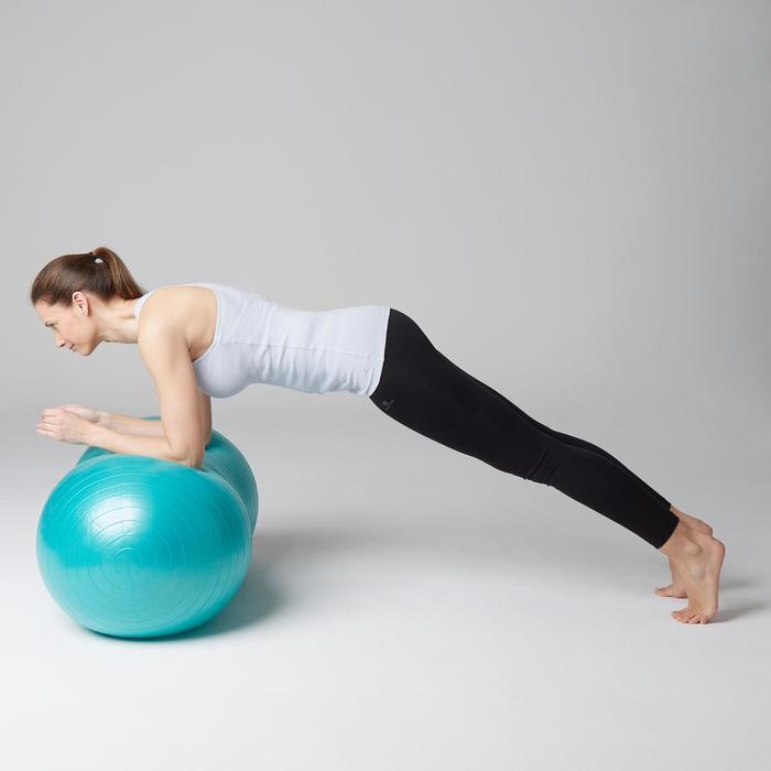 Camiseta sin mangas 500 Gimnasia Stretching mujer azul gris