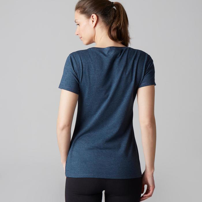 Dames T-shirt 500 voor gym en stretching regular fit gemêleerd donkerblauw
