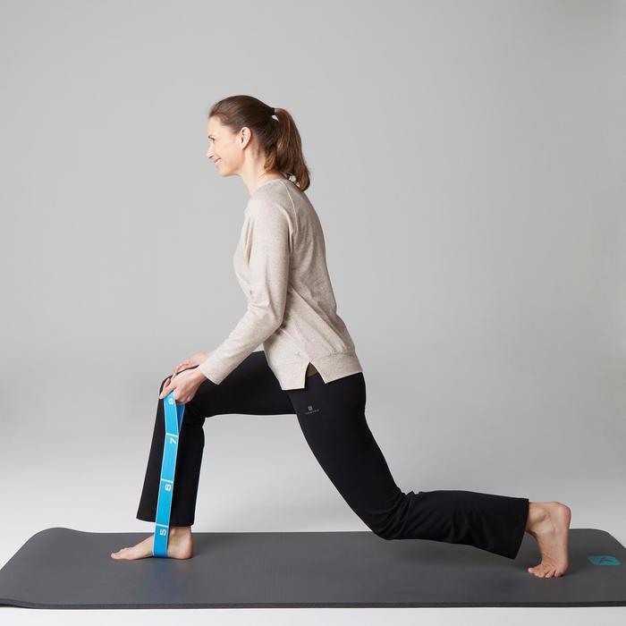 Langarmshirt 500 Gym Stretching Damen beigemeliert mit Print