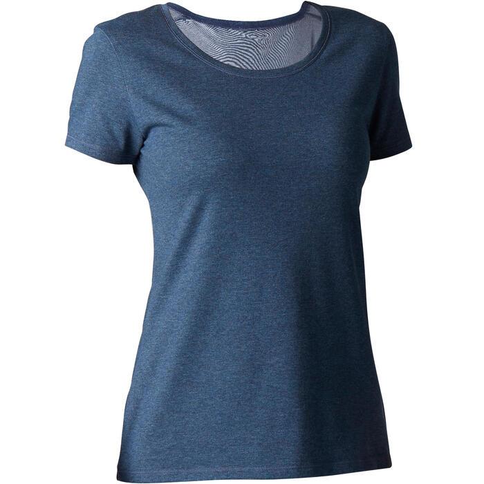 Camiseta Manga Corta Gimnasia Y Pilates Domyos 500 Regular Mujer Azul Oscuro