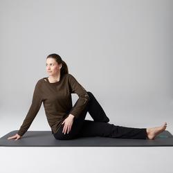 Camiseta 500 manga larga gimnasia Stretching mujer caqui jaspeado estampado