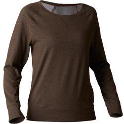 T-shirt 500 manches longues Gym Stretching femme kaki chiné print