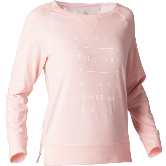 500 Women's Long-Sleeved Pilates & Gentle Gym T-Shirt - Beige Print