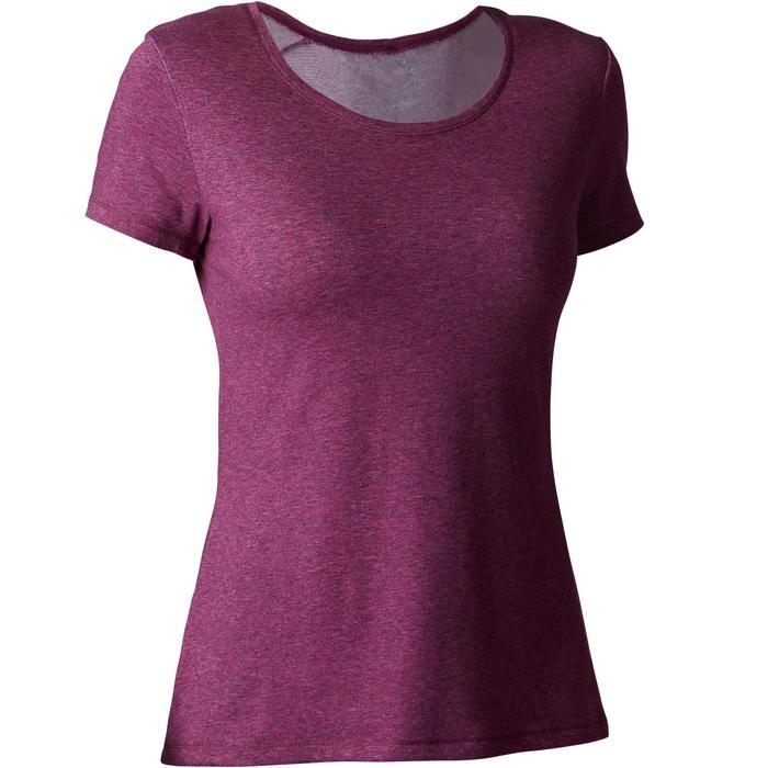 Camiseta 500 regular Gimnasia Stretching mujer violeta jaspeado