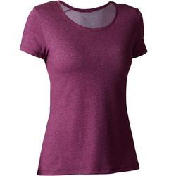 Dames T-shirt 500 voor gym en stretching regular fit gemêleerd paars
