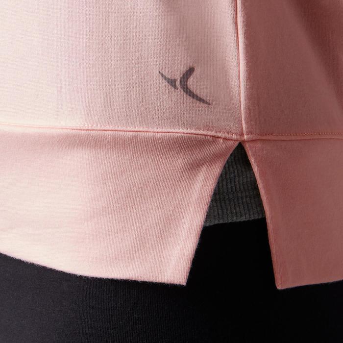 Langarmshirt 500 Gym Damen hellrosa bedruckt