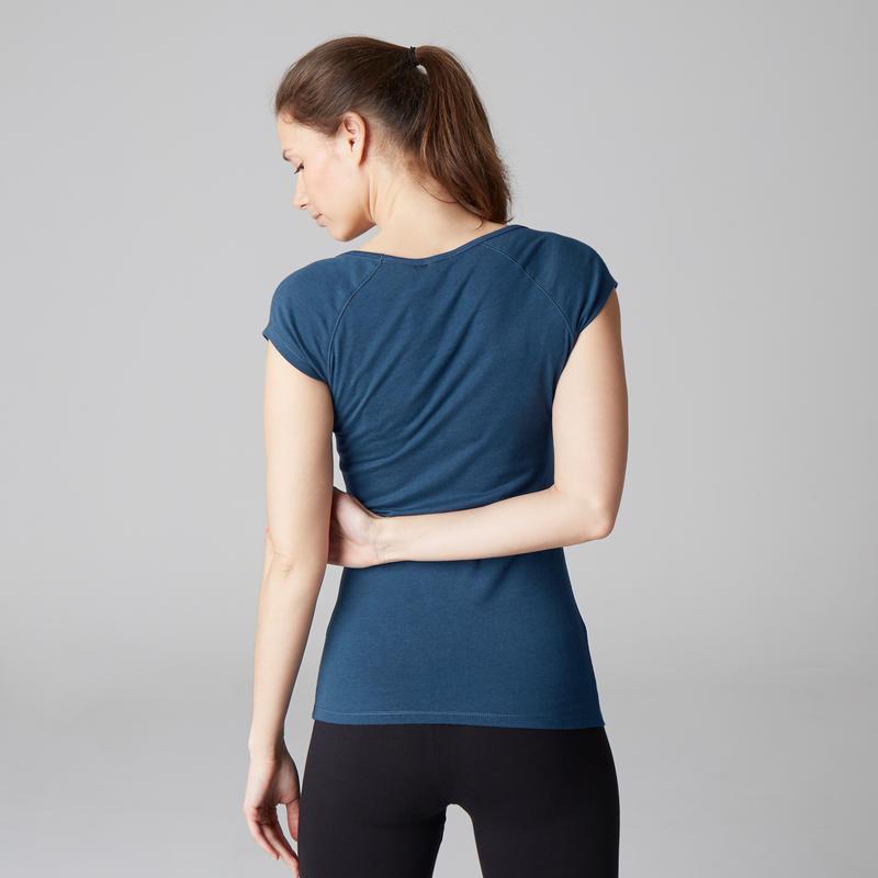 T-shirt 500 slim Gym Stretching femme bleu foncé