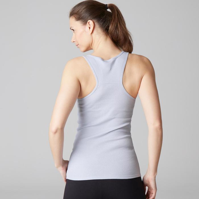 Camiseta Sin Mangas Tirantes Gimnasia Pilates Domyos 500 Mujer Blanco