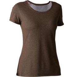 Camiseta 500 regular Gimnasia Stretching mujer caqui jaspeado