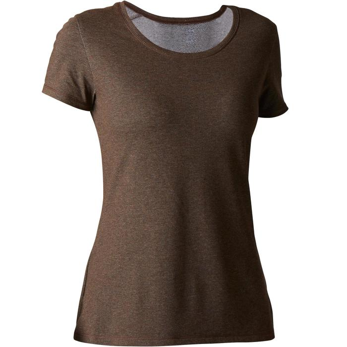 Dames T-shirt 500 voor gym en stretching regular fit gemêleerd kaki