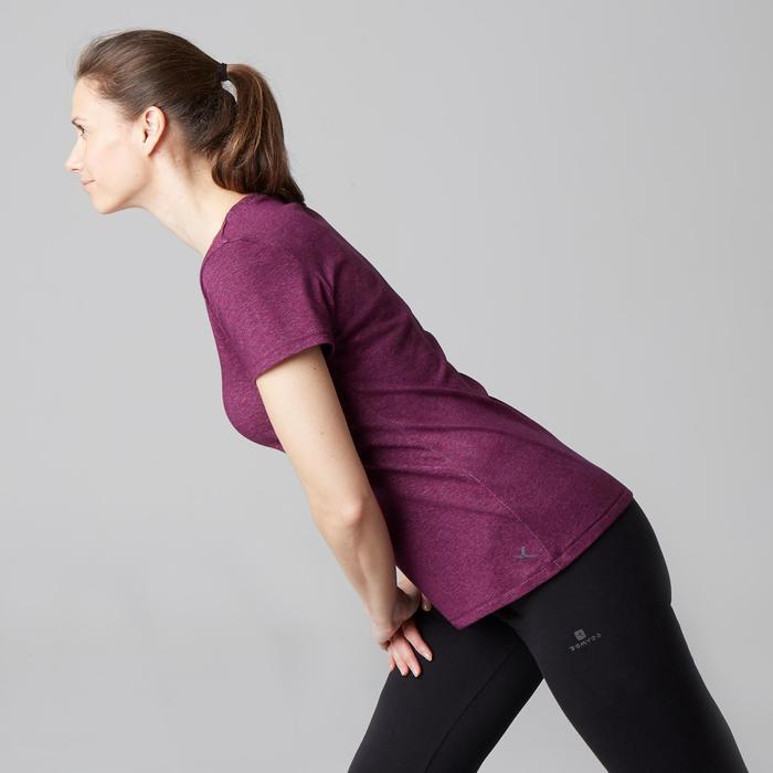 T-Shirt 500 Regular Gym Stretching Damen violett meliert