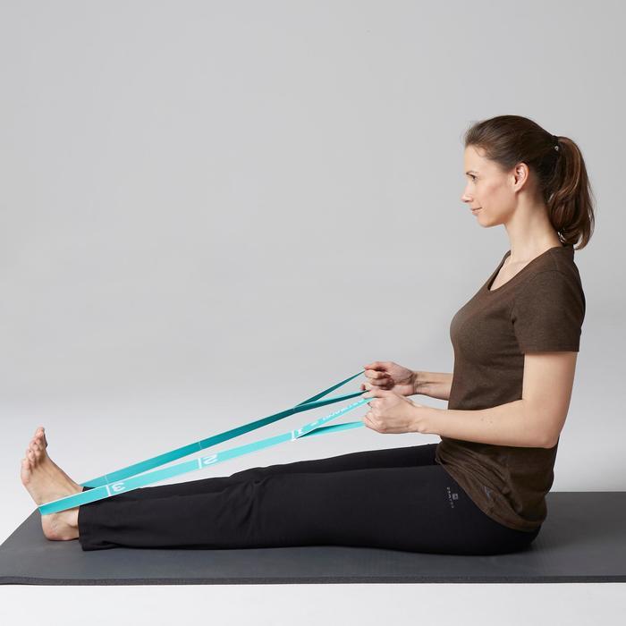 T-Shirt 500 Regular Gym Stretching Damen kaki meliert