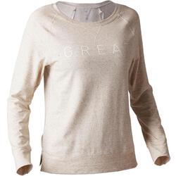 T-shirt 500 manches longues Pilates Gym douce femme beige printé