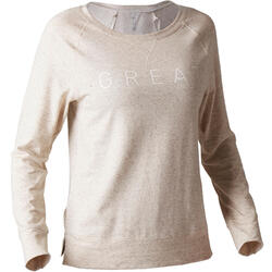 T-shirt 500 met lange mouwen pilates en lichte gym dames beige print