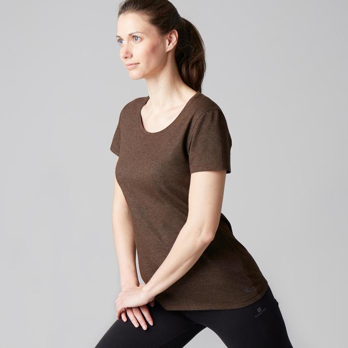 T-Shirt 500 Regular Gym Stretching Damen kakimeliert