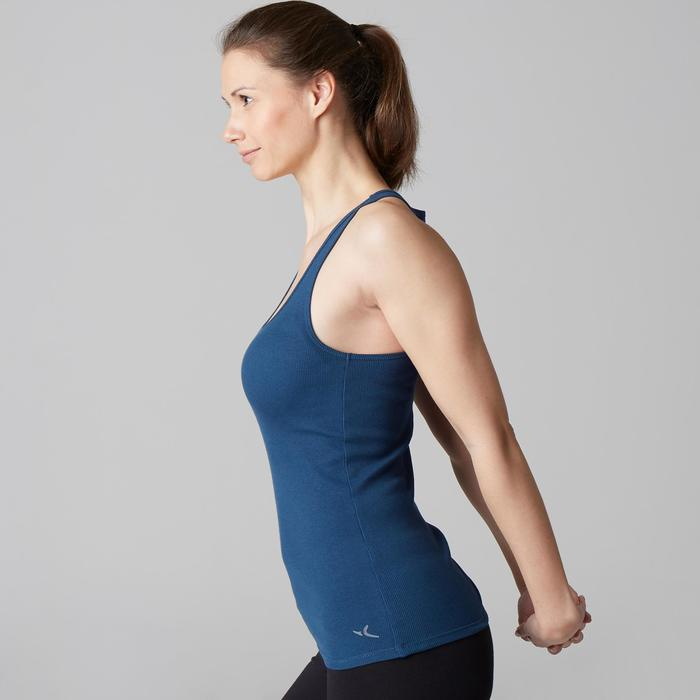 Camiseta sin mangas 500 Gimnasia Stretching mujer azul oscuro