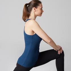 Camiseta Sin Mangas Tirantes Gimnasia Pilates Domyos 500 Mujer Azul Oscuro