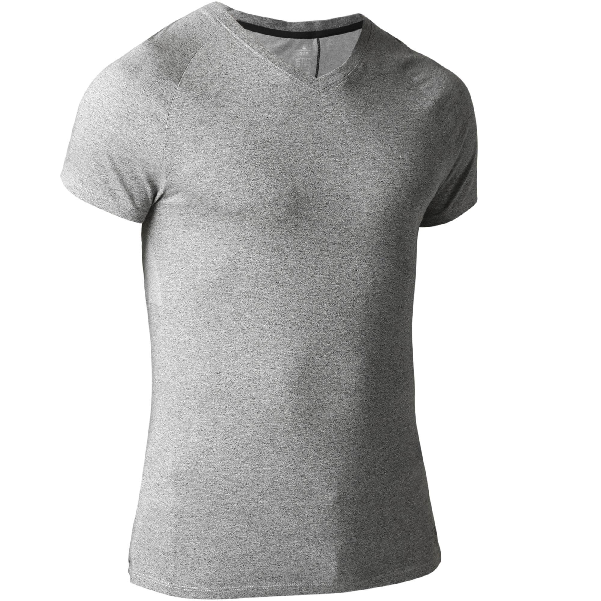 T-shirt 900 moulant pour gym et pilates homme gris