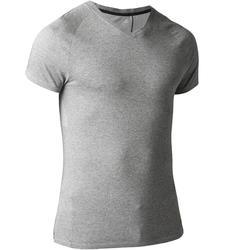 T-Shirt Gym 900 V-Ausschnitt Slim Herren Fitness grau