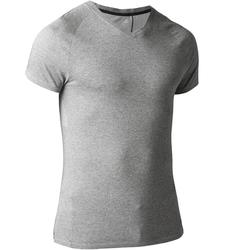 T-shirt 900 col V slim Gym Stretching & Pilates homme gris