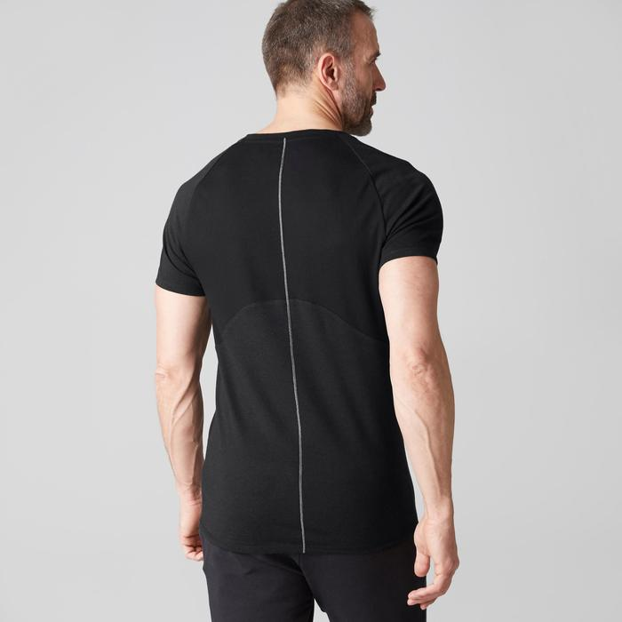 Heren T-shirt 900 voor gym stretching pilates slim fit V-hals zwart