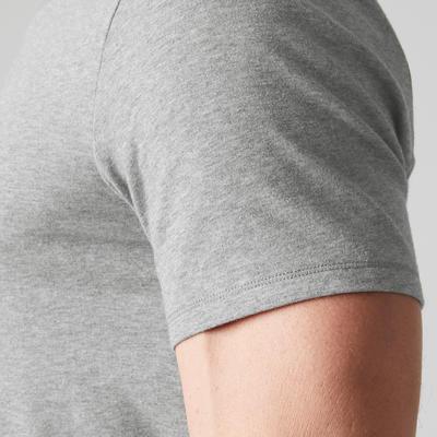 Camiseta cuello en V slim 500 Pilates y Gimnasia suave hombre gris clarito