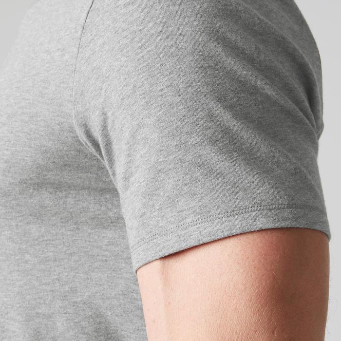 T-Shirt Gym 500 V-Ausschnitt Slim Herren Fitness grau