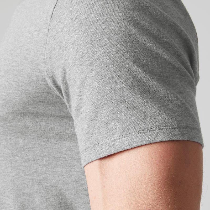 T-shirt 500 col V slim Pilates Gym douce homme gris clair