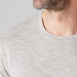 T-shirt 500 regular fit gym en stretching heren beige AOP
