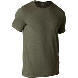Camiseta Manga Corta Gimnasia Pilates Domyos 500 Hombre Caqui Oscuro Algodón