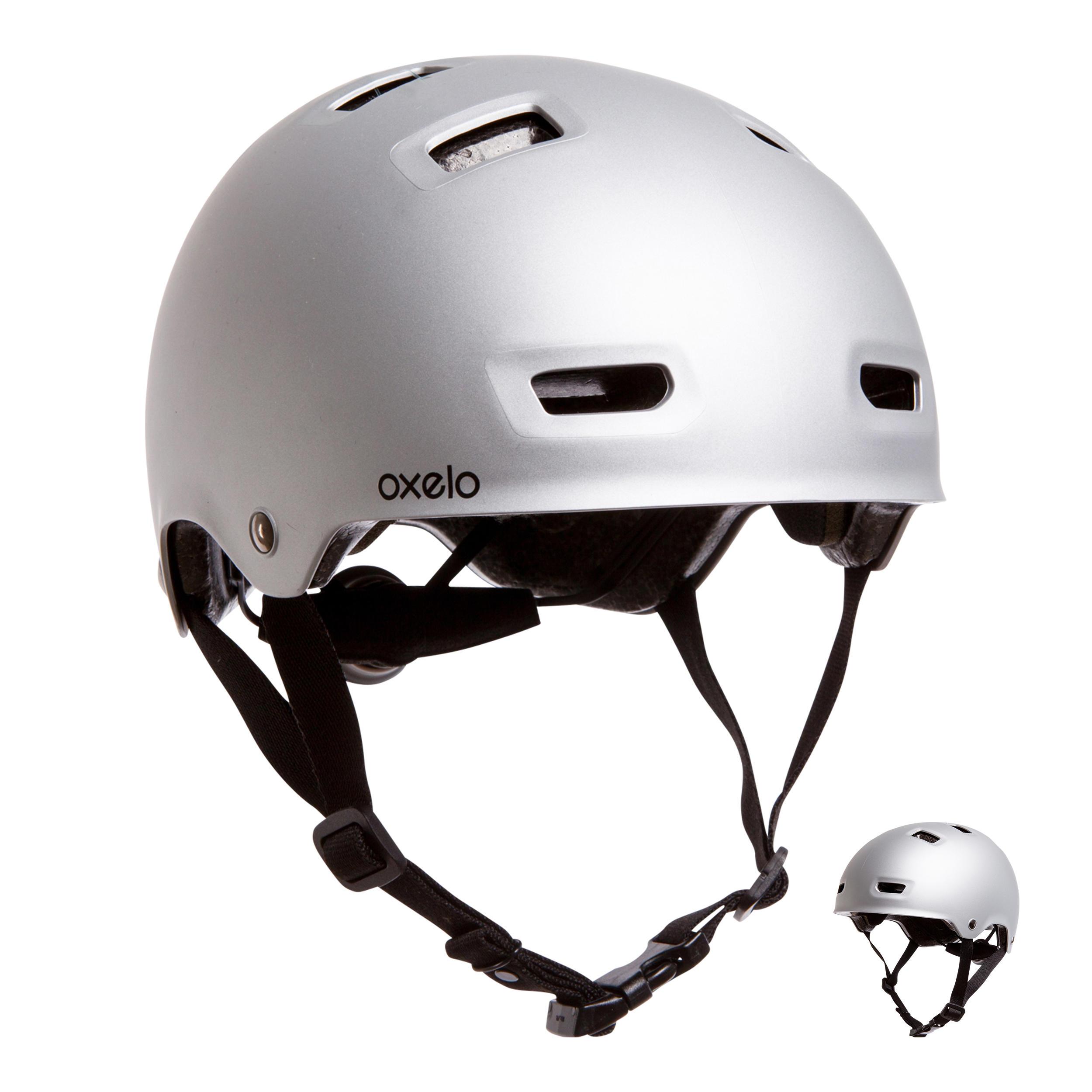 Oxelo Helm voor skeeleren skateboarden steppen MF500 grijs kopen
