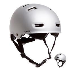 Helm voor skeeleren skateboarden steppen MF500 grijs