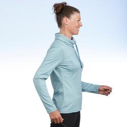 Dames T-shirt met lange mouwen voor wandelen in de sneeuw SH100 Warm ice blue