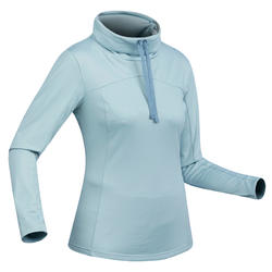 SH 100 Warm Women's Snow Hiking Long-Sleeved Shirt - Blue Ice