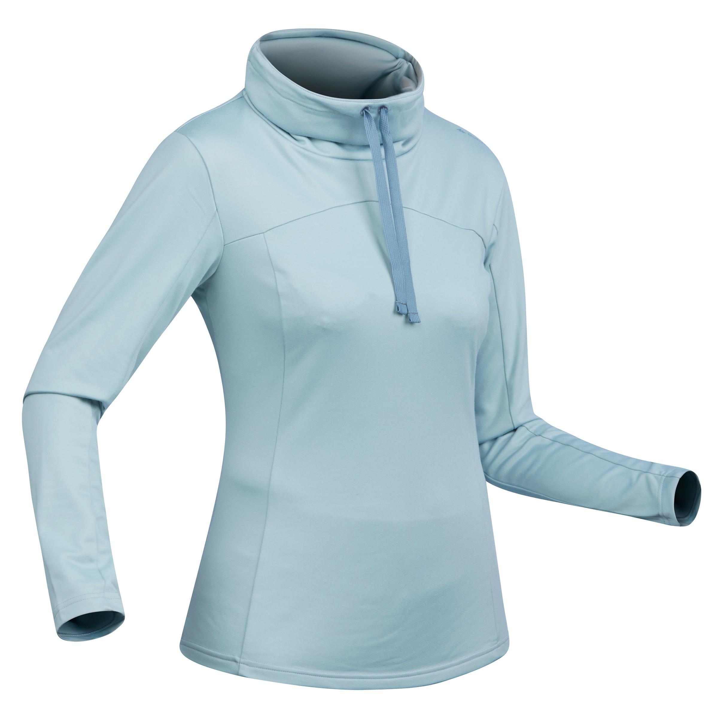 T-shirt de randonnée neige manches longues femme SH100 chaud bleu-ice