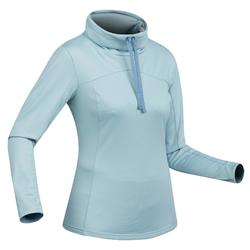 Tee-shirt de randonnée neige manches longues femme SH100 warm bleu-ice