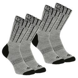 SH100 保暖中筒雪地健行襪 - 灰色。
