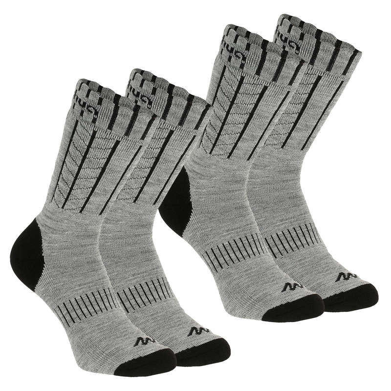 ADULT SNOW HIKING WARM SOCKS Hiking - MID SOCKS SH100 WARM - GREY QUECHUA - Outdoor Shoe Accessories