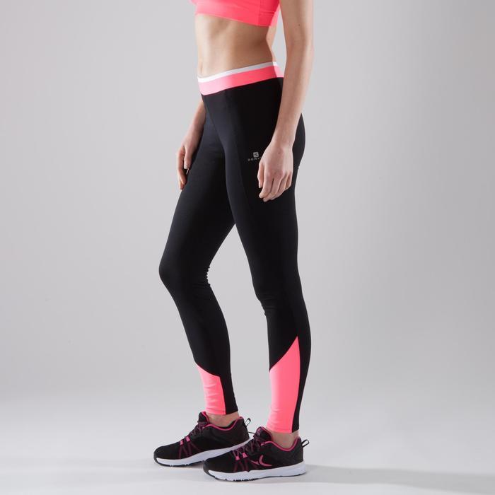 Leggings Cardio 120 Damen Fitness schwarz/rosa