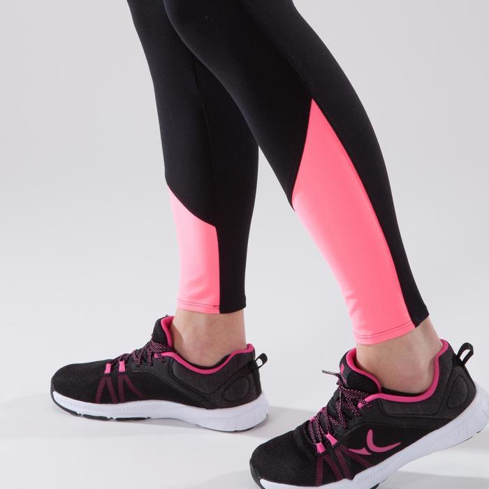 Leggings fitness cardio mujer bicolor negro y rosa 100 Domyos