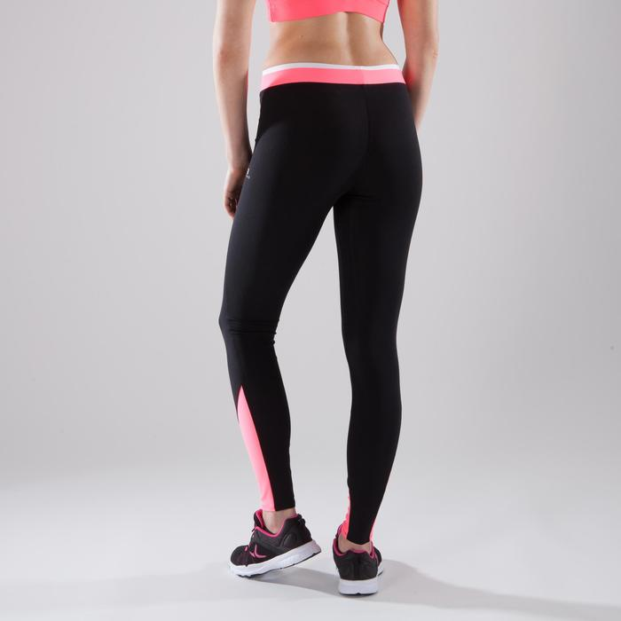 Leggings fitness cardio-training mujer bicolor negro y rosa 120