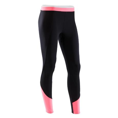 25189b1a06b legging fitness cardio-training femme bicolore noir et rose 120 domyos by decathlon 8491458 1503518.jpg