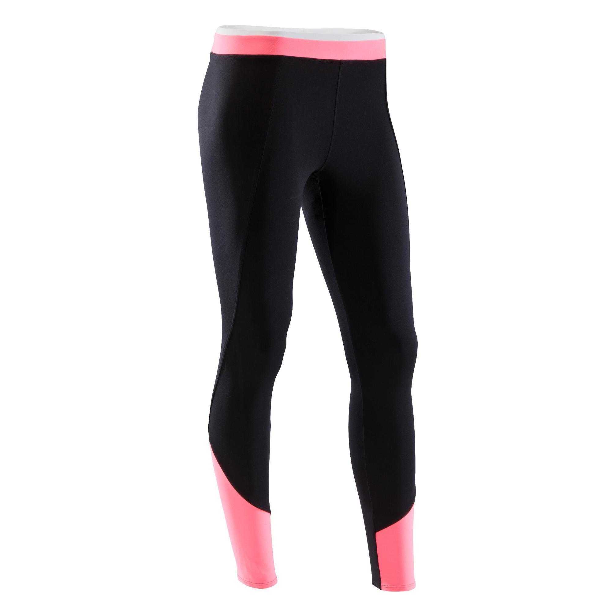 Domyos Fitnesslegging cardiotraining dames tweekleurig zwart/roze 120