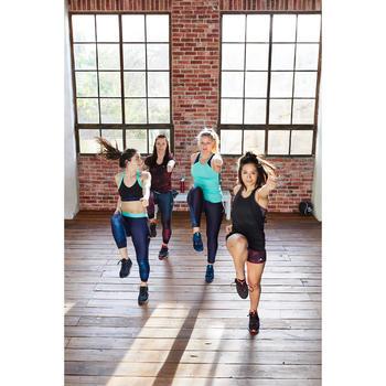 Cardiofitness sportbeha voor dames zwart met marineblauwe print 500
